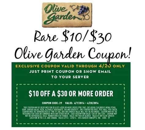 $10$30 Printable Olive Garden Coupon