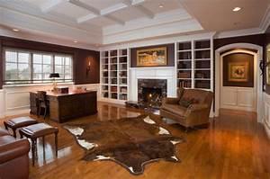 fauteuil cuir marron pour rechauffer linterieur contemporain With tapis peau de vache avec canapé chesterfield velours