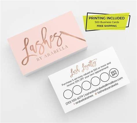 rose gold pink lash loyalty card design  printed