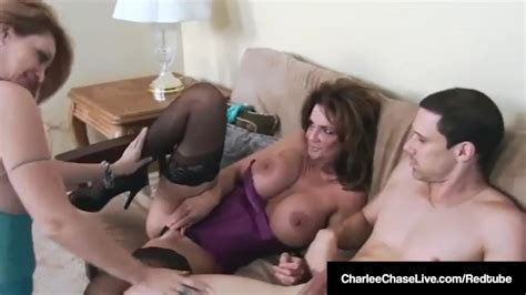 Cougars Charlee Chase And Deauxma Tongue Fuck And Blow A Cock