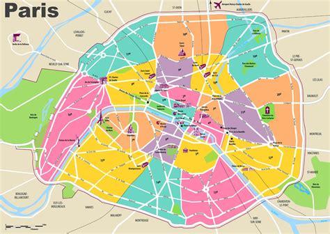 paris travel map  tourist attractions  arrondissements