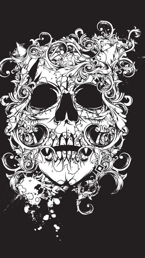 wallpaper scull black tatto decor art