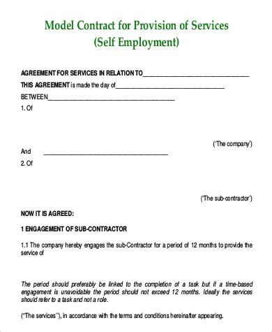 employment contract sample  examples  word