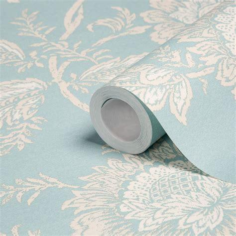 unlimited cabaletta duck egg floral wallpaper