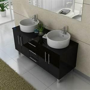 meuble salle de bain ref dis989n coloris noir With meuble vasque a poser salle de bain