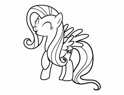Coloring Pages Fluttershy Pony Cartoon Printables Printable
