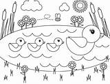 Pond Coloring Ducks Spring sketch template
