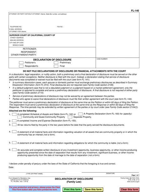 fl  declaration  disclosure family law pinkham law