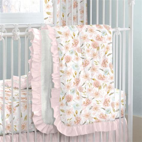 Pink Hawaiian Floral  Ee  Crib Ee   Comforter Carousel Designs