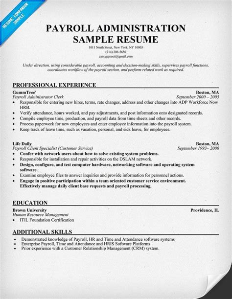 Help On A Resume by Free Payroll Administration Resume Help Resumecompanion