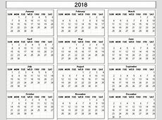 Yearly 2018 Printable Calendar back and white week starts