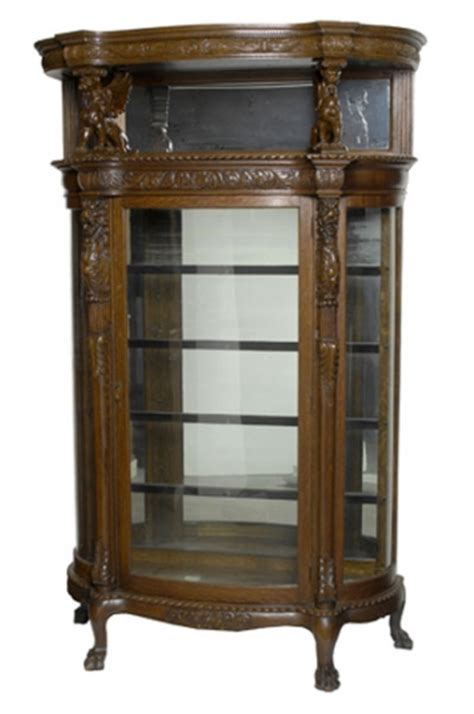 oak curved glass curio cabinet in the horner style 1394112