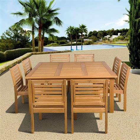 amazonia eucalyptus 9 armless square patio dining