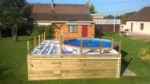 Amenagement Autour Piscine Hors Sol : terrasse piscine hors sol palette ~ Nature-et-papiers.com Idées de Décoration