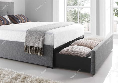 Upholstered Bed Frame With Storage by Kaydian Hexham Upholstered Storage Drawer Bed Smoke In
