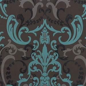 rasch tapete barock modern 714708 anthrazit tuerkis With balkon teppich mit schwarze barock tapete