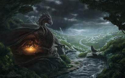 Dragon Wolf Fantasy Desktop River Backgrounds Background