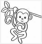 Monkey Monkeys Coloring Coloriage Enfants Singe Singes Coloriages Children Printable Funny Simple Sympa Imprimer Template Colorier Cheeky Waking Dessin Enfant sketch template