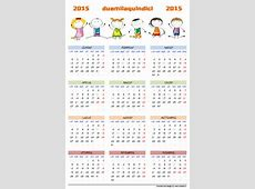 Calendario 2015 per bambini da stampare