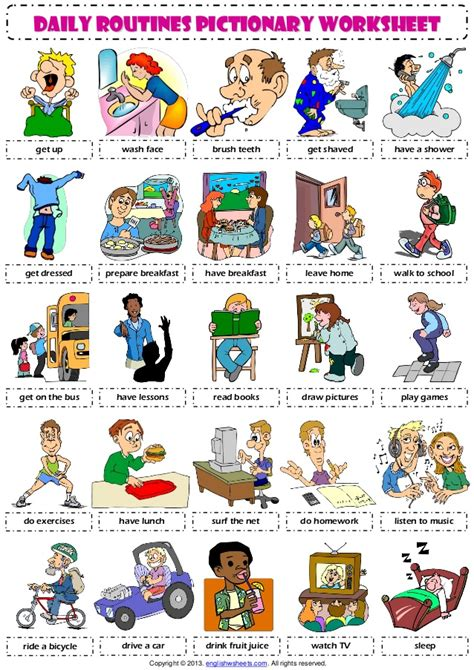 daily routines  pictionary poster vocabulary worksheet
