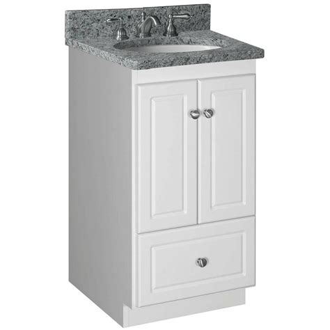 """Vessel 18 white solid wood cabinet & tempered glass counter top and single round. Strasser Woodenworks Simplicity 18"""" Bathroom Vanity Base ..."""