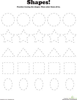 tracing basic shapes worksheet education 282 | trace color shapes coloring preschool