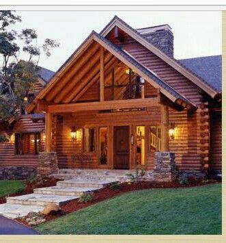 Loft windows and porch Log homes Log home floor plans