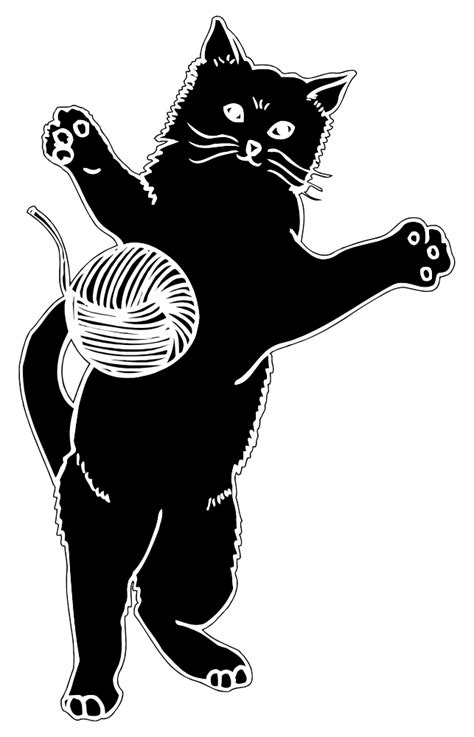 onlinelabels clip art cat playing  ball  yarn