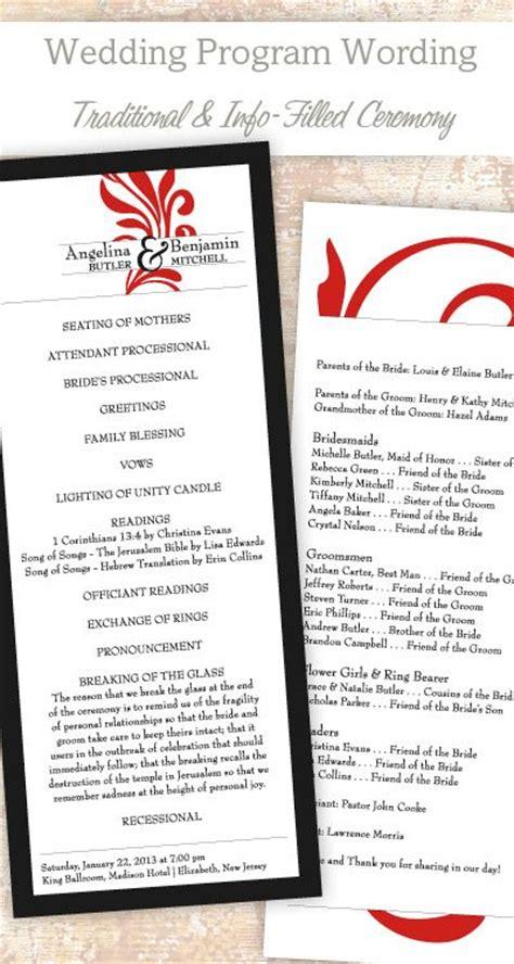 wedding program sle wording ideas 17 best ideas about wedding programs wording on wedding program exles wedding