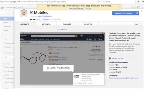 Chrome Mobile Extensions by 91mobiles Chrome Extension Makes Product Comparison