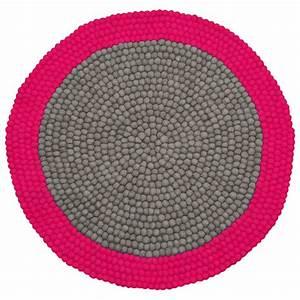 tapis enfant boules de laine neomix rose lilipinso 90x90 With tapis boule laine