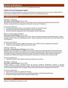 fast food manager resume http wwwresumecareerinfo With fast resume template
