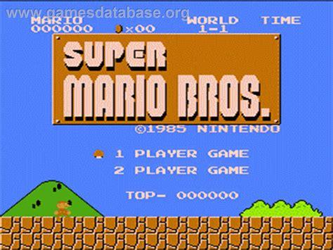 Super Mario Bros Nintendo Nes Games Database