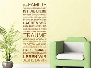 Wandtattoo Sprüche Familie : wandtattoo in dieser familie wird gelebt wandtattoo de ~ Frokenaadalensverden.com Haus und Dekorationen