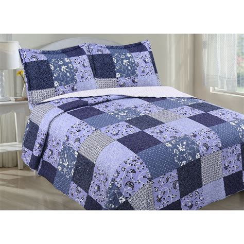 Floral Quilts by Floral Patchwork And Sherpa Quilt Set Ebay