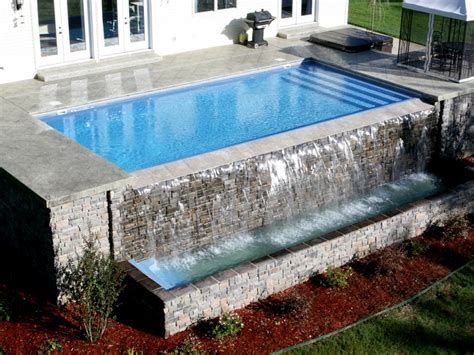 glass waterfall wall pool designs inc vanishing edges for your fiberglass