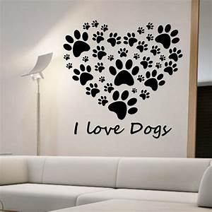 i love dogs paw print wall stickers heart removable diy With cute paw print wall decals ideas for home