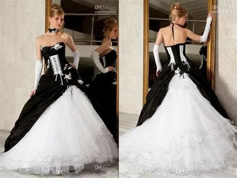 Cheap Black And White Ball Gown Wedding Dresses Gothic
