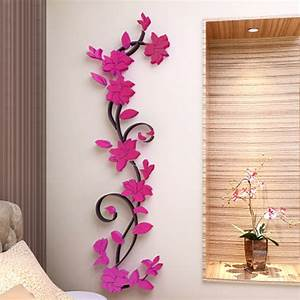 3D Vase Tree Love Heart Crystal Arcylic Wall Stickers ...