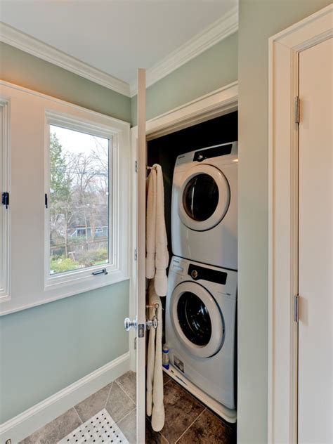 Bathroom Design With Washer And Dryer by Chevron Painted Floor Contemporary Laundry Room Blue