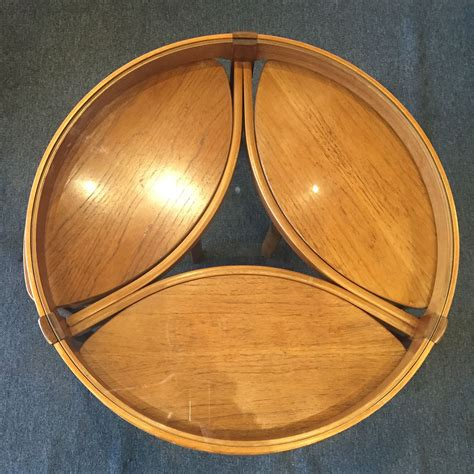 Add style to your home, with pieces that add to your decor while providing hidden storage. Mid_Century English round glass top teak coffee table with ...