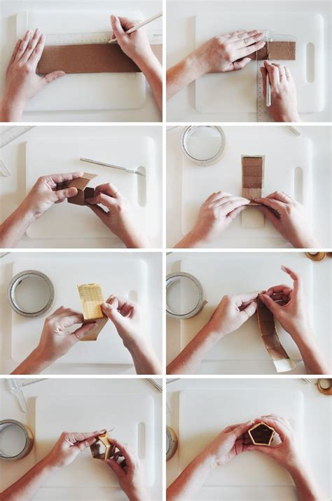 diy gold geo napkin rings wedding shower ideas gold