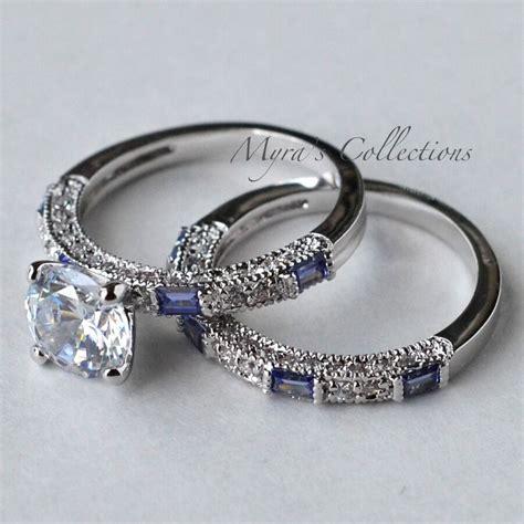 2 7ct tanzanite cz purple bridal wedding engagement ring