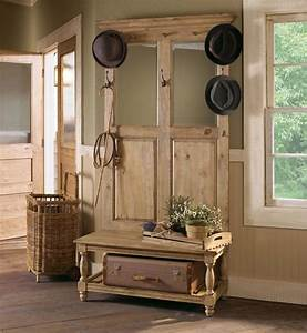 Rustic Natural Wooden Design With Simple Hooks And Mirrors