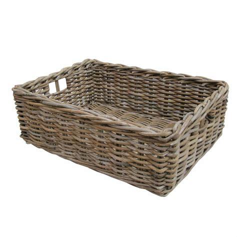 rectangular wicker grey buff rattan storage baskets