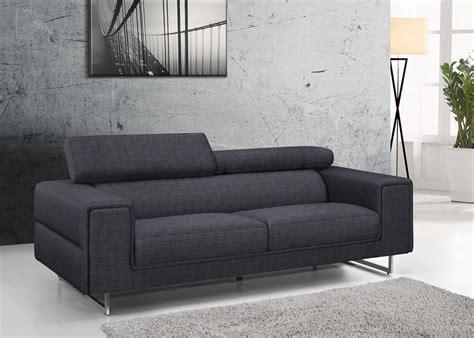 canape avec tetiere canapé design gris chablis en tissu fixe 3 places avec