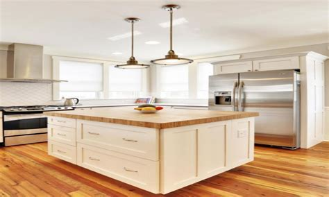 Bamboo Kitchen Island Butcher Block Countertop In A White