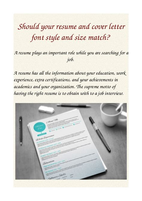 Standard Font Size And Style For Resume by Should Your Resume And Cover Letter Font Style And Size Match