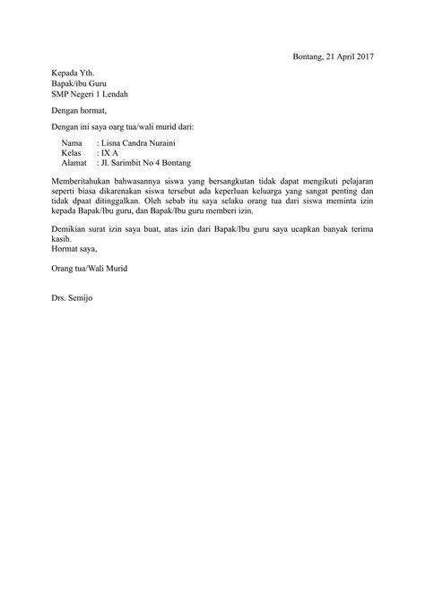 contoh surat izin sakit  singkat contoh