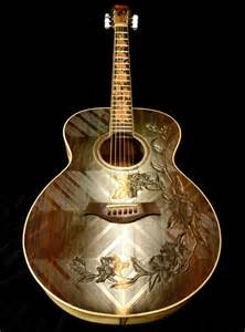 Blueberry Acoustic Guitar Custom Made Floral Motif